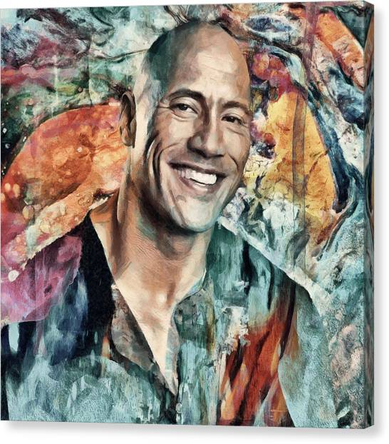 Dwayne Johnson Canvas Print - Dwayne Johnson by Sampad Art