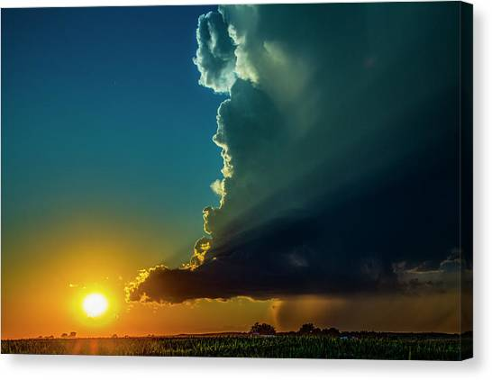 Canvas Print featuring the photograph Dying Nebraska Thunderstorms At Sunset 068 by NebraskaSC