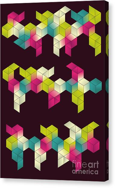 Block Canvas Print - Each Grouping Of Cubes And Background by Transfuchsian