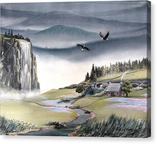 Canvas Print featuring the painting Eagle View by Deleas Kilgore