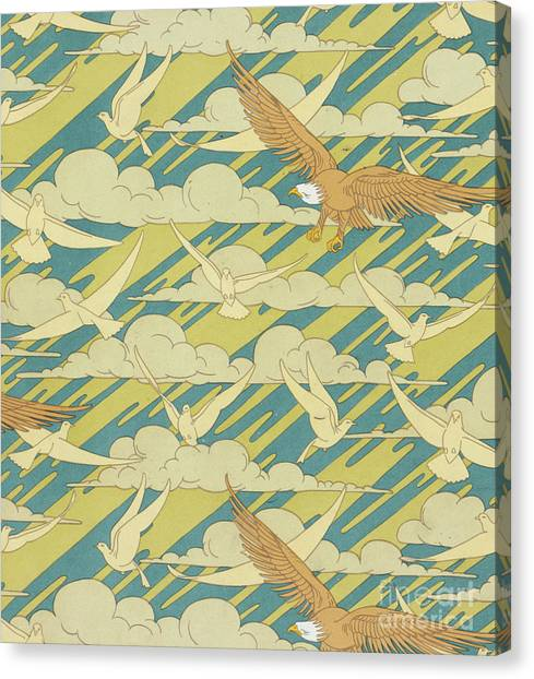 Eagle In Flight Canvas Print - Eagles And Pigeons by Maurice Pillard Verneuil