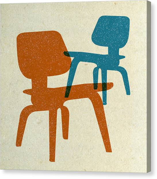 Tasteful Canvas Print - Eames Molded Plywood Chairs I by Naxart Studio