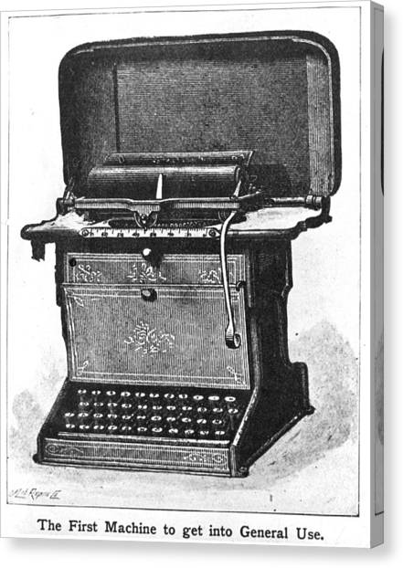 Early Typewriter Canvas Print by Hulton Archive