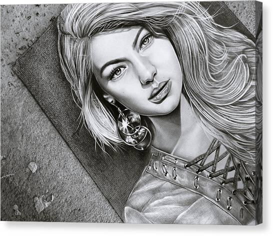 Long Hair Canvas Print - Earrings And Girl by ArtMarketJapan