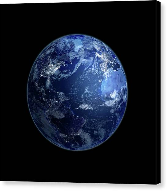 Earth At Night, Artwork Canvas Print by Andrzej Wojcicki