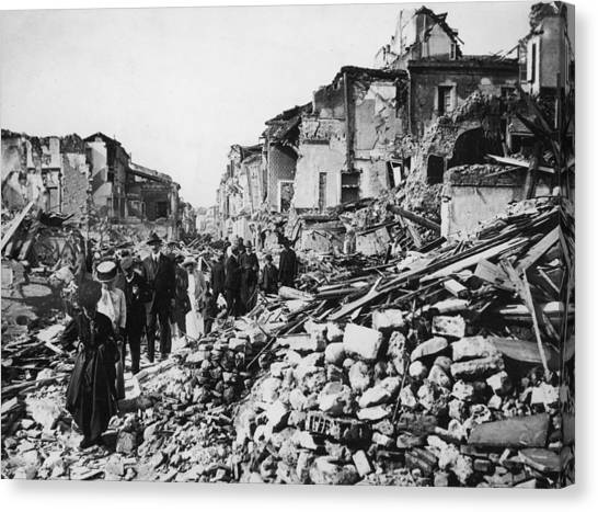 Earthquake Rubble Canvas Print by Hulton Archive