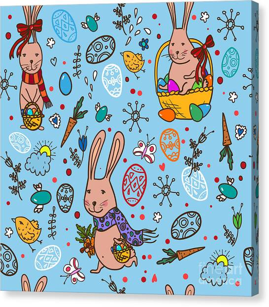 Basket Canvas Print - Easter Bunny Pattern by Veron ice