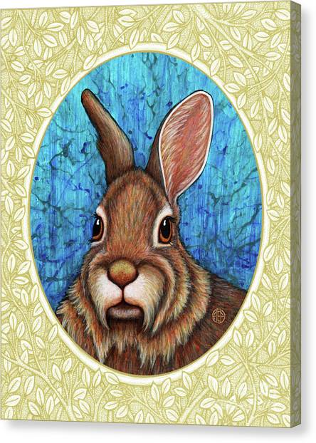 Eastern Cottontail Portrait - Cream Border Canvas Print
