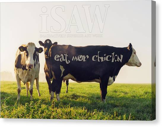 Canvas Print featuring the digital art Eat Mor Chickn by ISAW Company