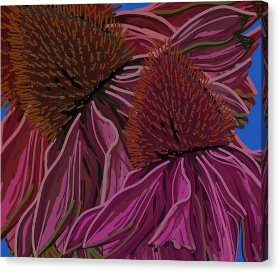 Echinacea Flower Blues Canvas Print
