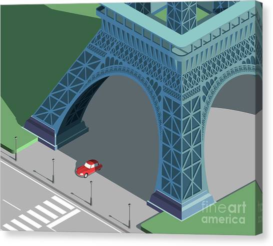 Famous Places Canvas Print - Eiffel Tower And Red Car Isometric by Nikola Knezevic