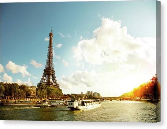 Eiffel Tower And The River Seine Canvas Print