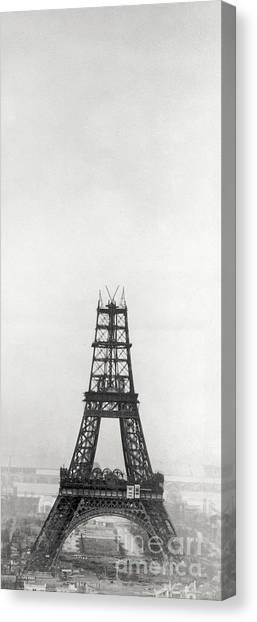 Parisian Canvas Print - Eiffel Tower, Paris During Construction by French School