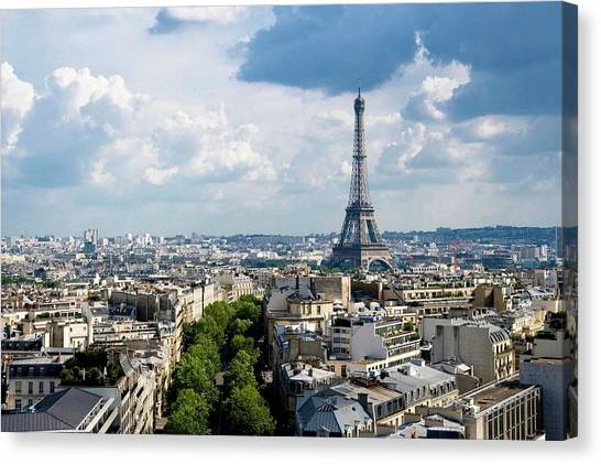 Eiffel Tower View From Arc De Triomphe Canvas Print by Keith Sherwood