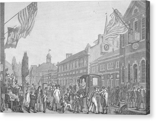 Election In Front Of State House, Pa Canvas Print by Kean Collection