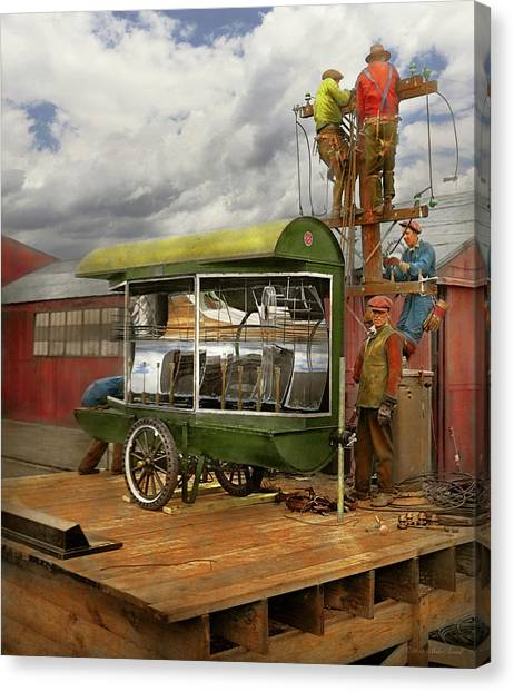 Canvas Print featuring the photograph Electrician - Linemen - Installing Search Lights 1929 by Mike Savad