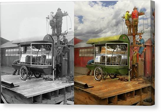 Canvas Print featuring the photograph Electrician - Linemen - Installing Search Lights 1929 - Side By Side by Mike Savad