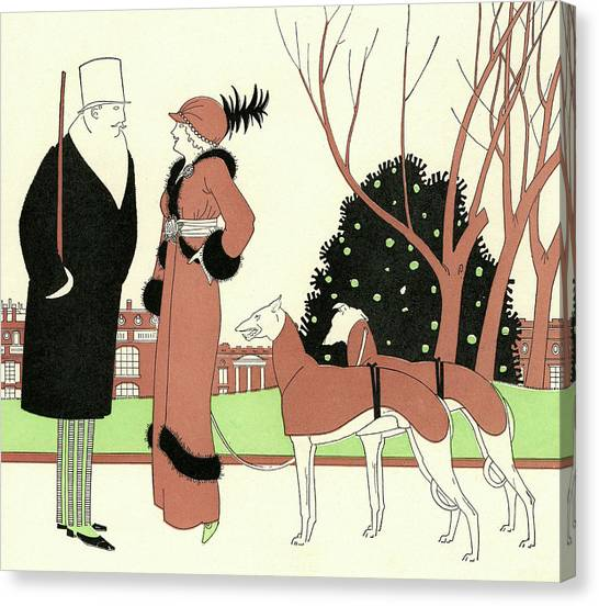 Elegant Couple With Two Dogs Canvas Print