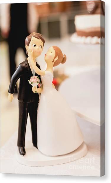Elegant Wedding Cake Dolls Canvas Print