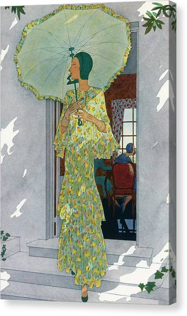 Elegant Woman With A Parasol Canvas Print