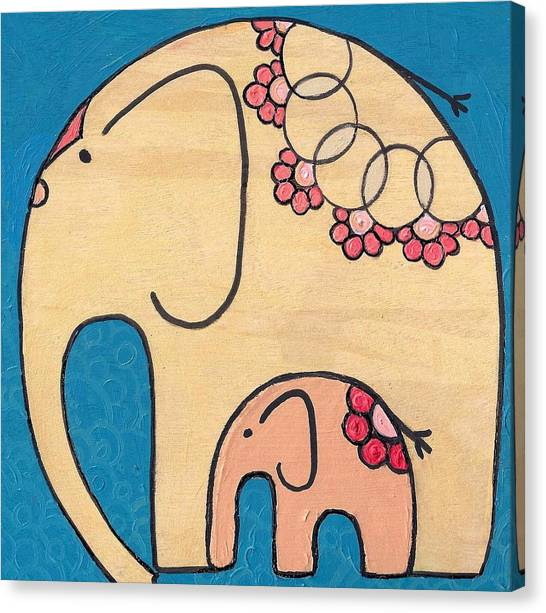 Elephant And Child On Blue Canvas Print