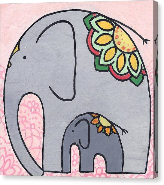 Elephant And Child On Pink Canvas Print