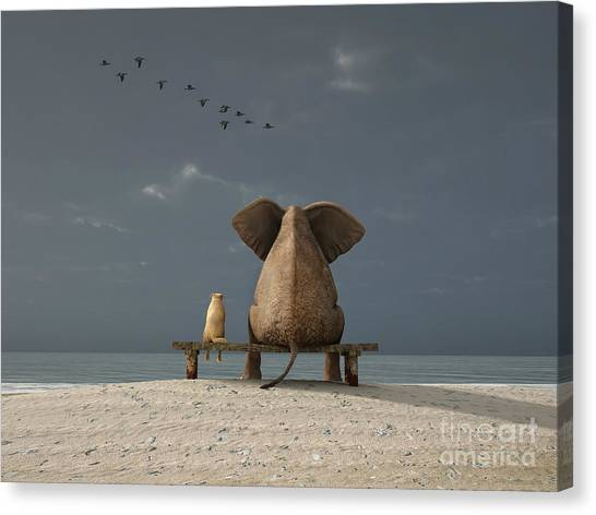 Big Canvas Print - Elephant And Dog Sit On A Beach by Photobank Gallery