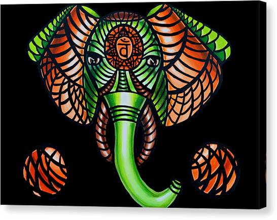 Elephant Head Painting Sacral Chakra Art Zentangle Elephant African Tribal Artwork Canvas Print