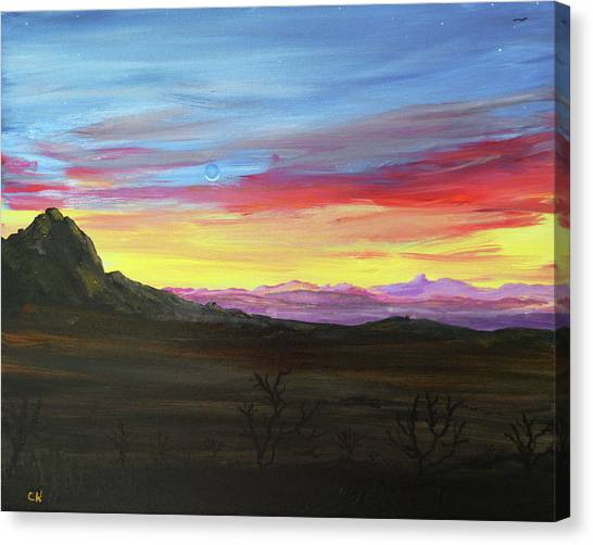 Canvas Print featuring the painting Elephant Head Twilight  by Chance Kafka