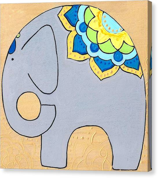 Elephant On Gold Canvas Print