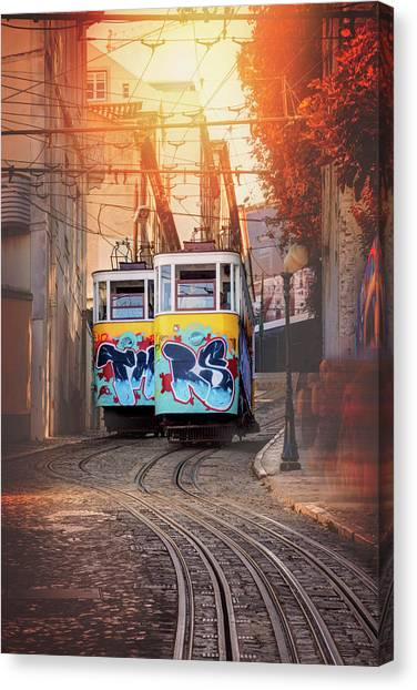 Elevador Da Gloria Lisbon Portugal  Canvas Print by Carol Japp