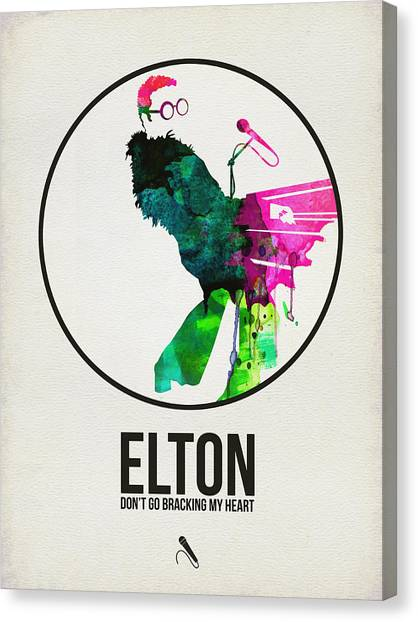 Rock Music Canvas Print - Elton Watercolor Poster by Naxart Studio