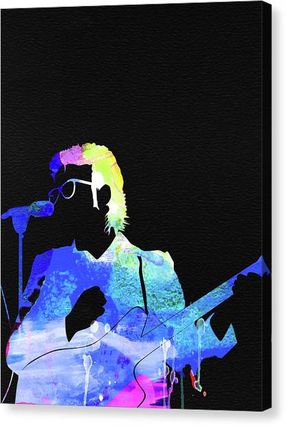 Elvis Canvas Print - Elvis Costello Watercolor by Naxart Studio