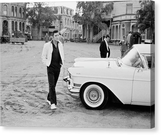 Elvis On Set Canvas Print by Archive Photos