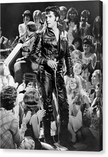 Elvis Canvas Print - Elvis Presley 68 Comeback Special by Michael Ochs Archives