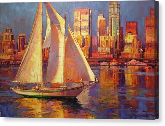 Sailboat Canvas Print - Emerald City Twilight by Steve Henderson