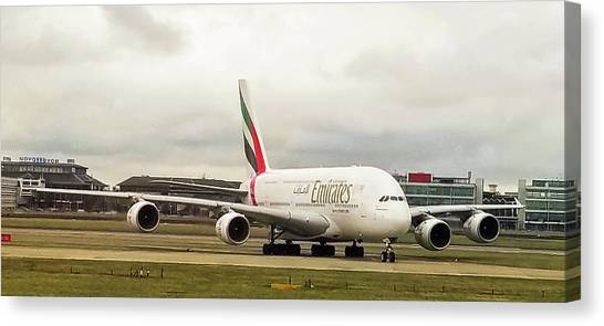 Emirates Airbus A380-800 At London Heathrow Airport Canvas Print
