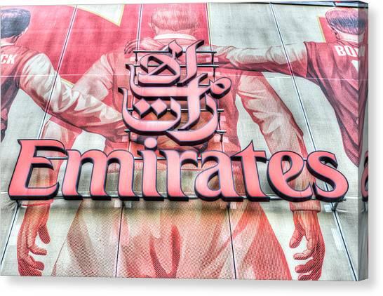 Arsenal Fc Canvas Print - Emirates Logo Emirates Stadium  by David Pyatt