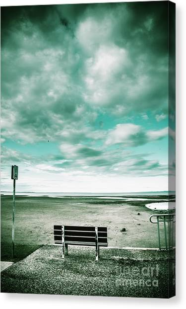 Bench Canvas Print - Empty Beach Bench by Jorgo Photography - Wall Art Gallery