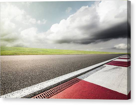 Empty Motor Racing Track Canvas Print by Yubo