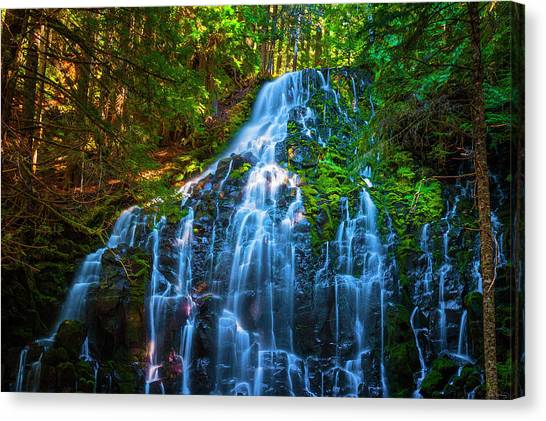 Canvas Print featuring the photograph Enchanting Ramona Falls by Dee Browning