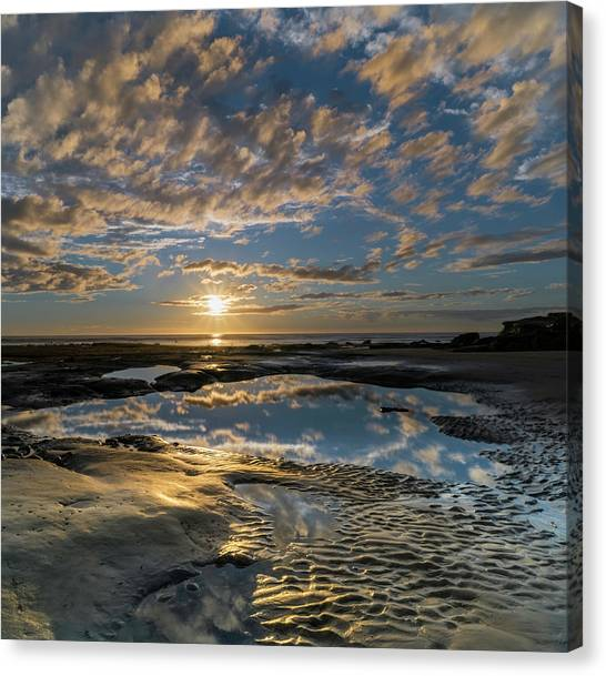 Southern Rock Canvas Print - Encinitas Sunset Square Format by Larry Marshall