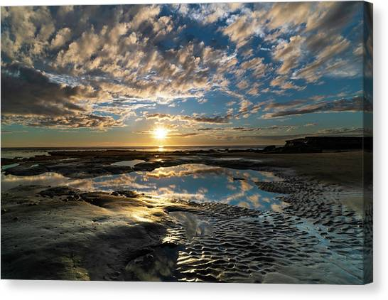 Southern Rock Canvas Print - Encinitas Sunset Landscape Format by Larry Marshall