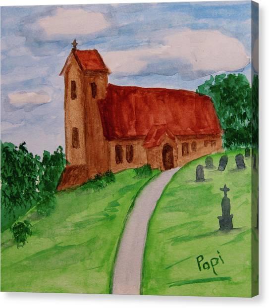 Church Yard Canvas Print - English Country Church by Paul Anderson