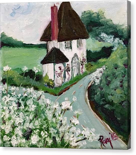 White House Canvas Print - English Countryside White Cottage by Roxy Rich