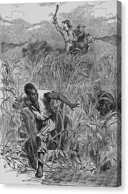 Engraving Of Slave Escape, Mid-19th Canvas Print by Kean Collection
