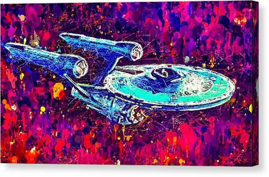 Canvas Print featuring the mixed media Star Trek Enterprise by Al Matra
