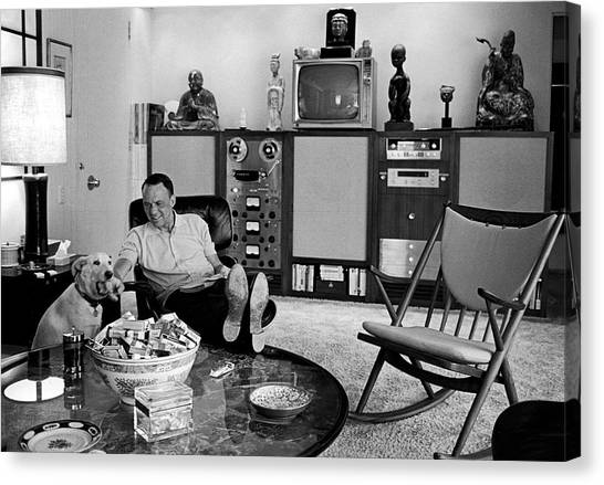 Entertainer Frank Sinatra Relaxing W Canvas Print by John Dominis