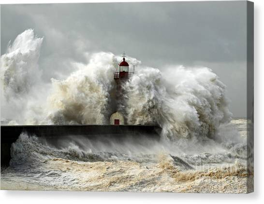 Tides Canvas Print - Entry Of Douro River Harbor On The by Zacarias Pereira Da Mata