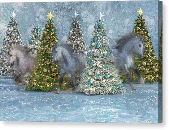 Winter Fun Canvas Print - Equine Holiday Spirits by Betsy Knapp